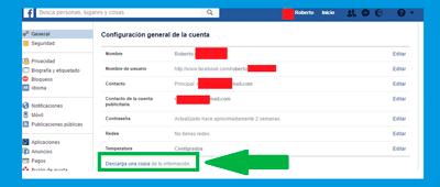 """configuración """"mis datos"""" en facebook"""
