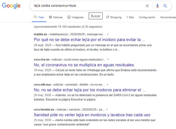 Búsqueda Lejia contra coronavirus+bulo