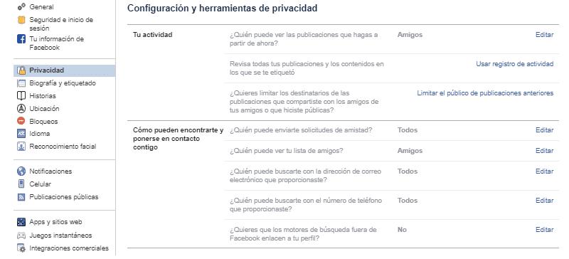 configuracion y privacidad facebook