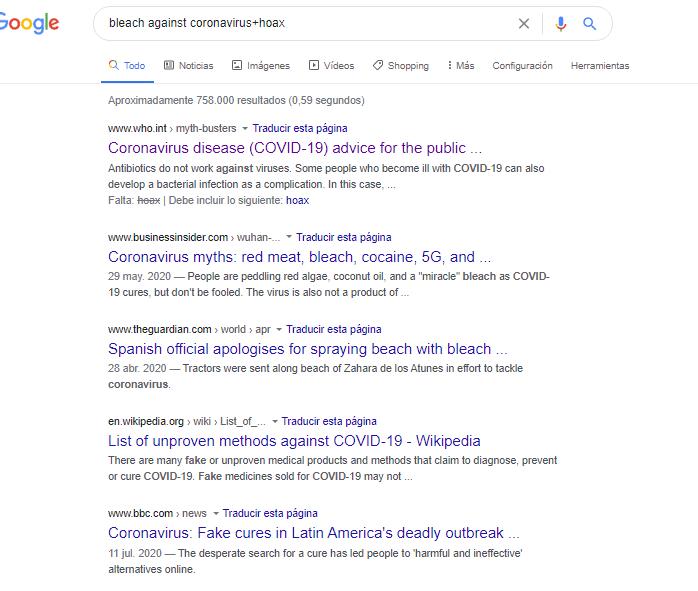 búsqueda bleach against coronavirus+hoax